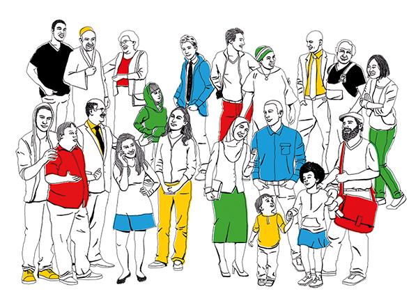 Illustration Menschengruppe mit bunten Kleidungsstücken