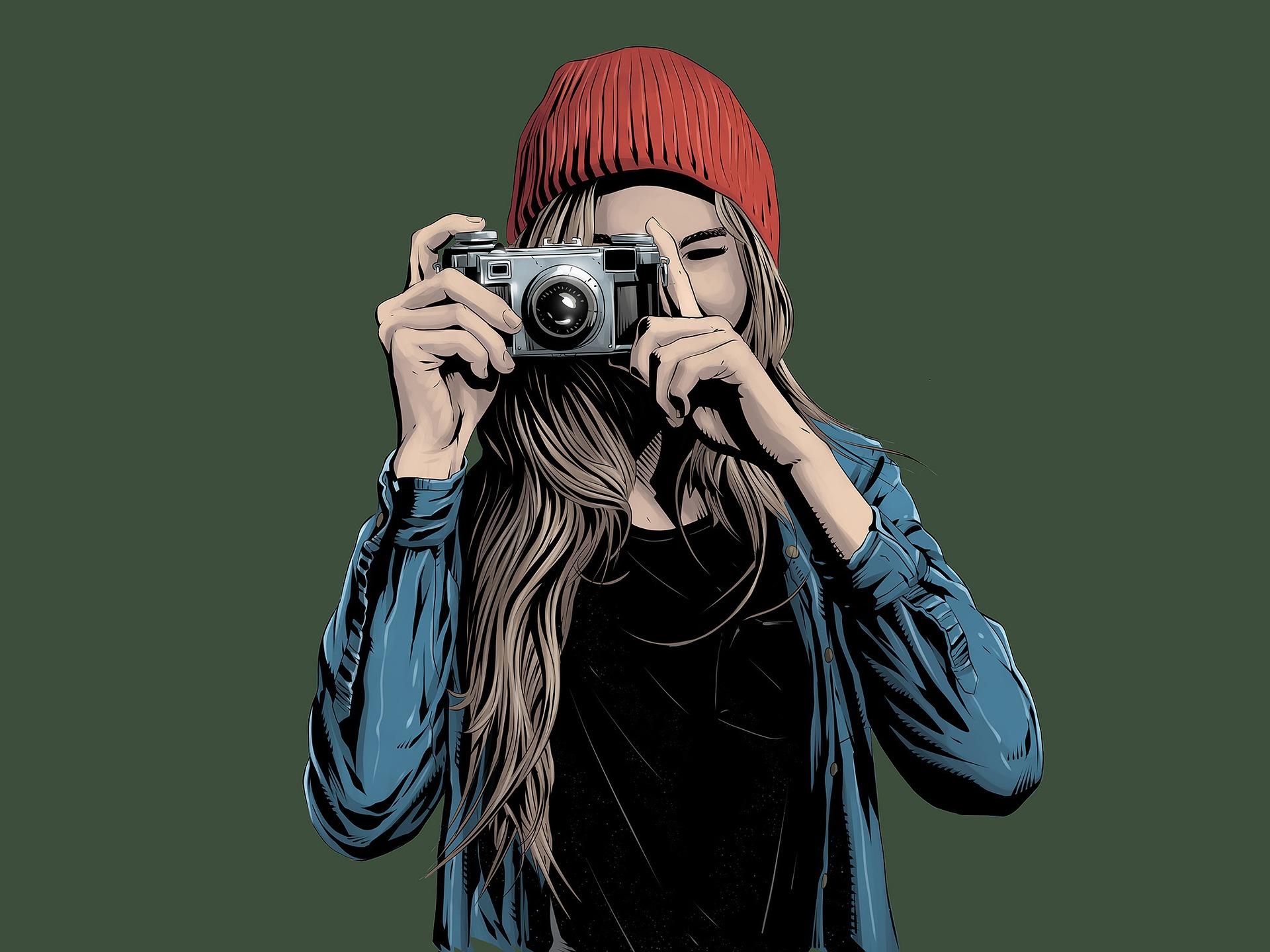 Illustierte junge Frau mit Fotokamera