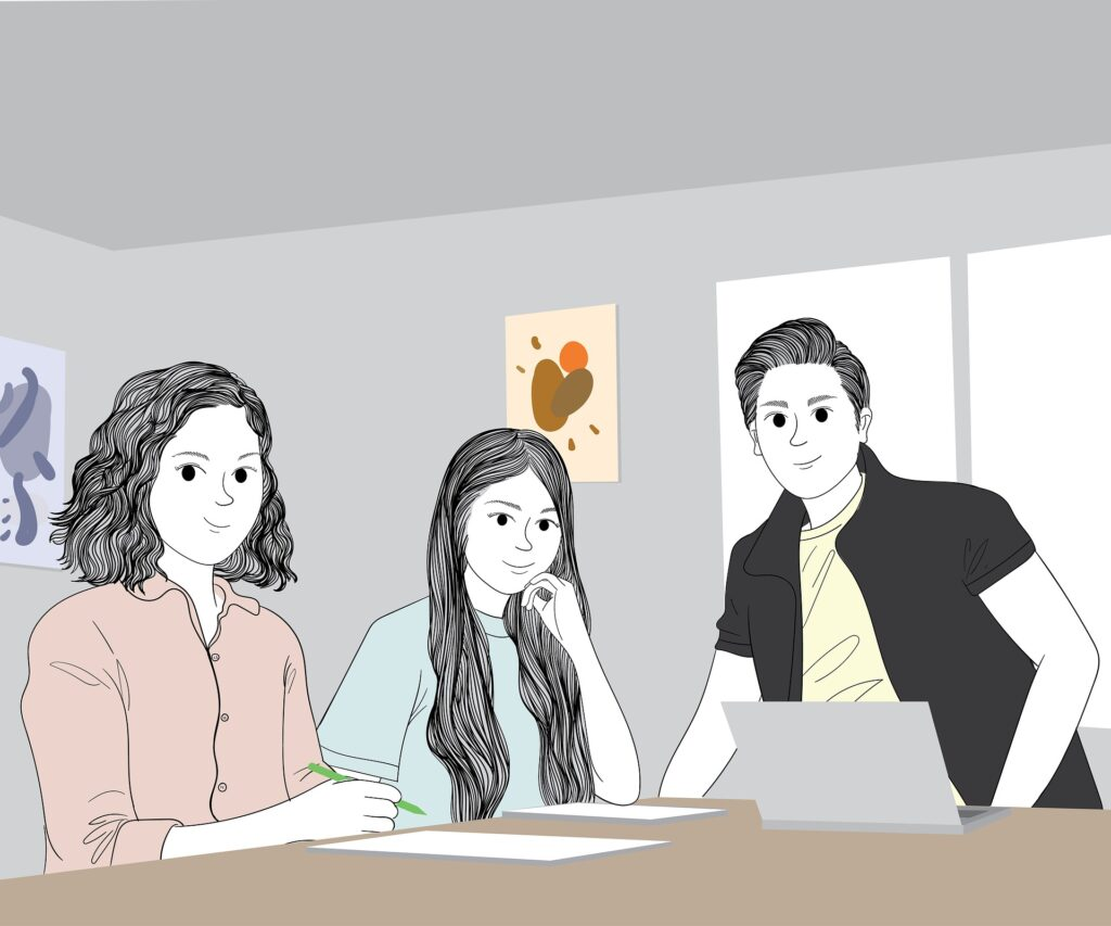 Drei illustrierte Jugendliche sitzen am Tisch mit einem Laptop